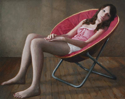 Retro Look Painting - Haley In A Round Chair by Charles Pompilius