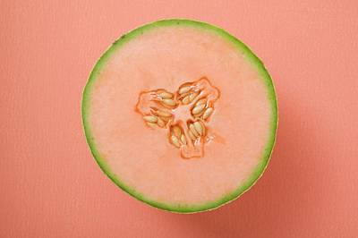 Cantaloupe Photograph - Half A Cantaloupe Melon (overhead View) by Foodcollection