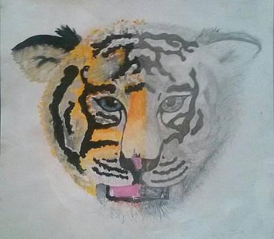 Half And Half Tiger Art Print by Kendya Battle