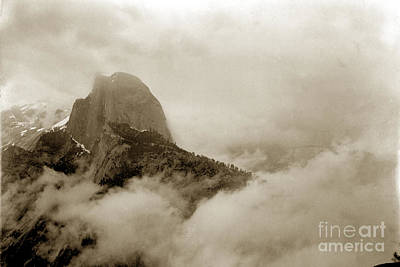 Photograph - Half Dome In The Clouds And Clouds Rest From Glacier Point Trail California Circa 1910 by California Views Mr Pat Hathaway Archives