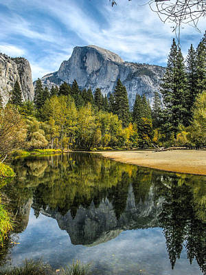 Photograph - Half Dome Reflected In The Merced River by John Haldane