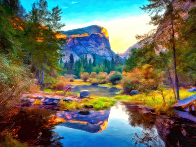 Yosemite Painting - Half Dome Reflection by Michael Pickett