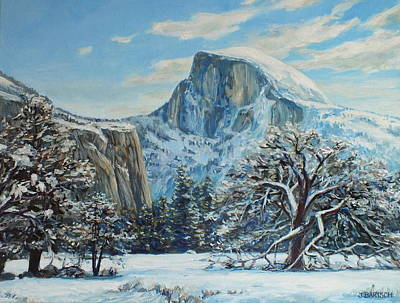 Half Dome Painting - Half Dome Winter In Yosemite by Jennifer Bartsch