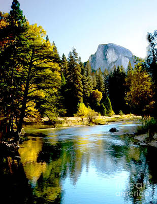 Painting - Half Dome Yosemite River Valley by Bob and Nadine Johnston