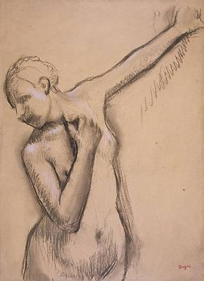Females Torsos Drawing - Half Length Nude Girl, C.1895 by Edgar Degas