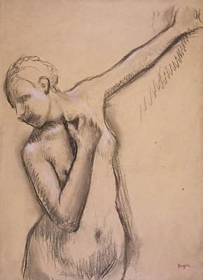 Torso Wall Art - Drawing - Half Length Nude Girl, C.1895 by Edgar Degas