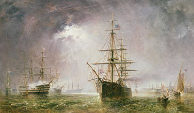 Sailboat Ocean Painting - Half Mast High 19th Century by  Robert  Dudley