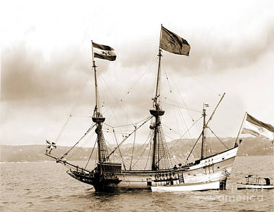 Half Moon Re-entered Hudson River After An Absence Of 300 Years In Sepia Tone Art Print