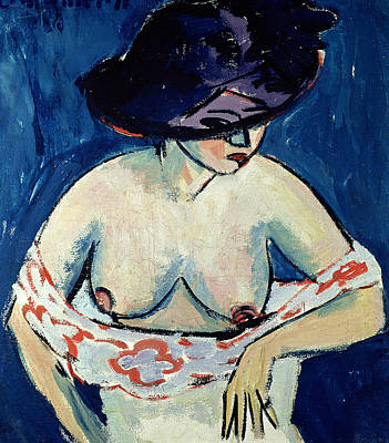 Ludwig Painting - Half Naked Woman With A Hat by Ernst Ludwig Kirchner