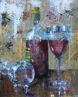 Wine-bottle Painting - Half Savored II by John Henne