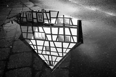 Photograph - Half-timbered House Water Reflection Black And White by Matthias Hauser