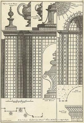 Half Trellis Pavilion With Details, Cornelis Danckerts II Print by Cornelis Danckerts Ii And Reinier Ottens I And Reinier Ottens Ii