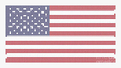 American Independence Mixed Media - Halftone Us Flag by Celestial Images