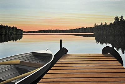 Art Print featuring the painting Haliburton Dock by Kenneth M  Kirsch