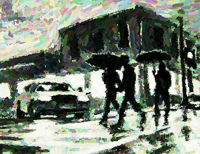 Pointillist Digital Art - Halifax In The Rain One by John Malone