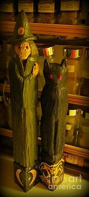 Cat Wood Carving Mixed Media - Halifax Kitchen Witch And Familiar by John Malone