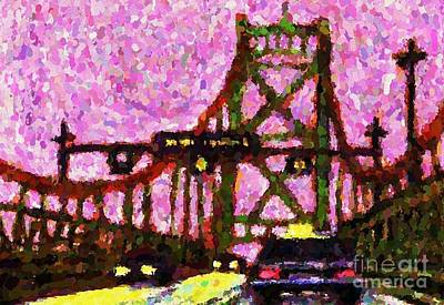 Halifax Macdonald Bridge Pointillist Art Print by John Malone