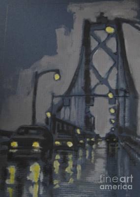 Halifax Macdonald Bridge Rainy Evening Print by John Malone