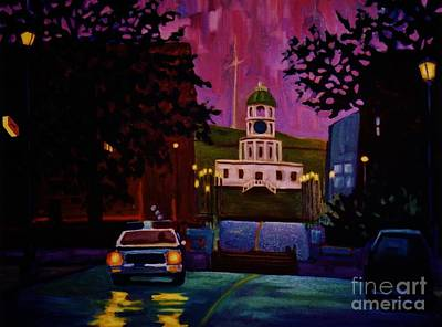 Halifax Night Patrol And Town Clock Art Print