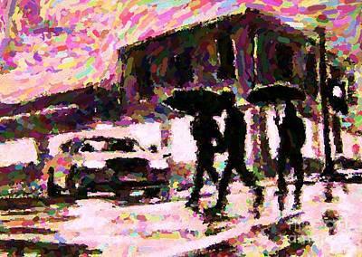 Pointillist Digital Art - Halifax Nova Scotia On In The Rain by John Malone johnmaloneartistcom