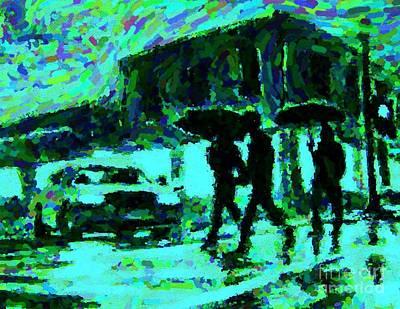 Pointillist Digital Art - Halifax On A Rainy Night by Halifax Artist John Malone