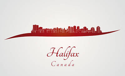 Halifax Skyline In Red Art Print