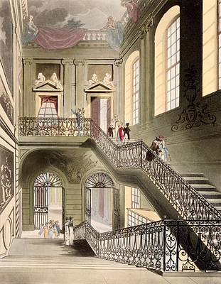 Microcosm Drawing - Hall And Staircase At The British by T. & Pugin, A.C. Rowlandson