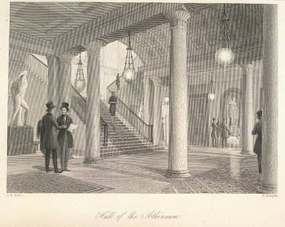 Hall Of The Athenaeum Print by British Library