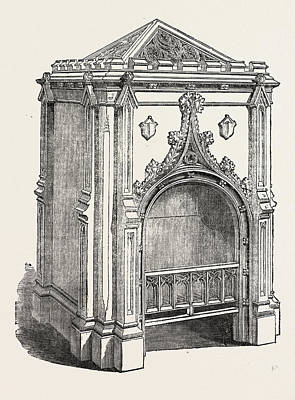 Fired Clay Drawing - Hall Stove, Jermyn Street, London, Uk. This by Pierce, English, 19th Century