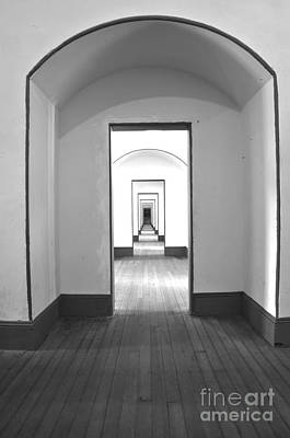 Hall Way In Black And White Art Print by Raphael Bruckner
