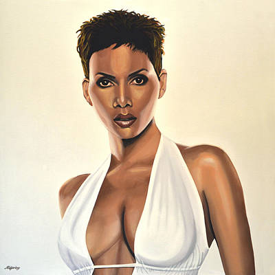 Halle Berry Painting Print by Paul Meijering