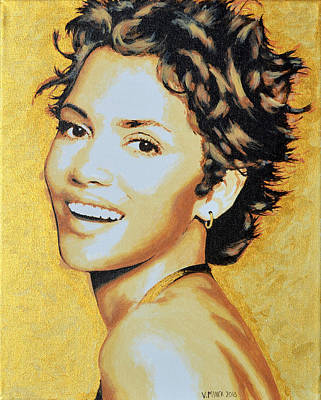 Halle Berry Art Print by Victor Minca