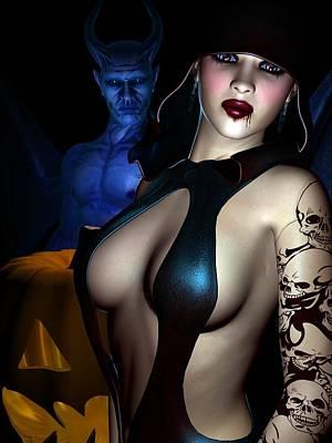 Female Body Digital Art - Halloween by Alexander Butler