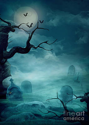 Halloween Background - Spooky Graveyard Art Print by Mythja  Photography