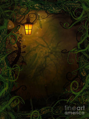 Mythja Digital Art - Halloween Background With Spooky Vines by Mythja  Photography