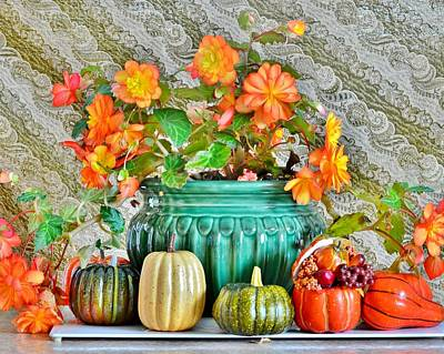 Photograph - Autumn Still Life Begonias by Kim Bemis