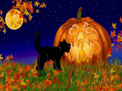 Halloween Black Cat Meets The Giant Pumpkin Art Print