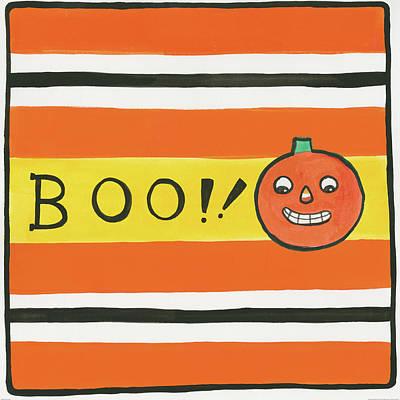 Green Lantern Painting - Halloween Boo Pumpkin by Melissa Averinos