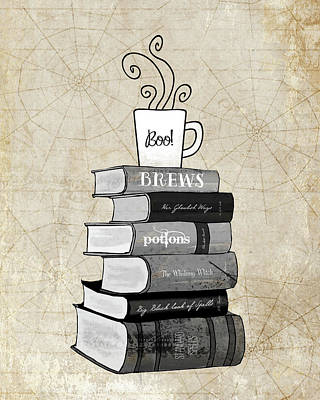 Halloween Wall Art - Painting - Halloween Books And Coffee by Amy Cummings