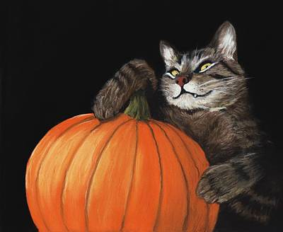 Halloween Pumpkin Painting - Halloween Cat by Anastasiya Malakhova
