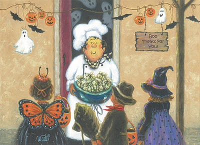Halloween Chef Art Print by Vickie Wade