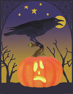 Raven Painting - Halloween Critter II by Beth Grove
