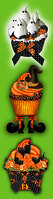 Mixed Media - Halloween Cupcakes - Green by Carol Cavalaris