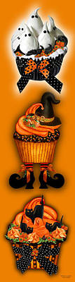 Mixed Media - Halloween Cupcakes - Orange by Carol Cavalaris