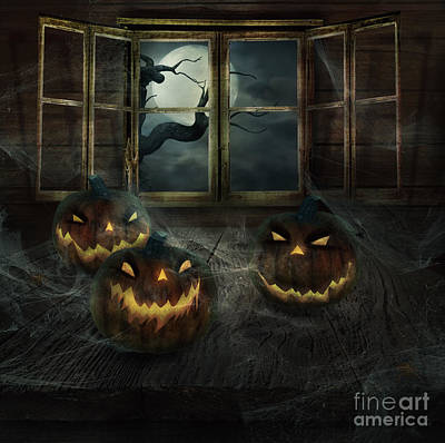Haunted House Digital Art - Halloween Design - Abandoned Pumpkins by Mythja  Photography