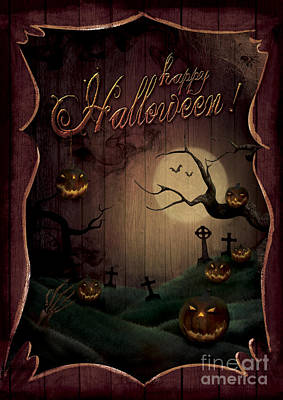 Creepy Digital Art - Halloween Design - Pumpkins Theatre by Mythja  Photography