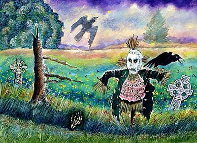 Halloween Field With Funny Scarecrow Skeleton Hand And Crows Art Print by Ion vincent DAnu