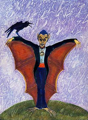 Dracula Drawing - Halloween Funny Batcula With Crow by Ion vincent DAnu