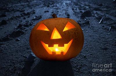 Face Photograph - Halloween Glowing Pumpkin At Night by Michal Bednarek