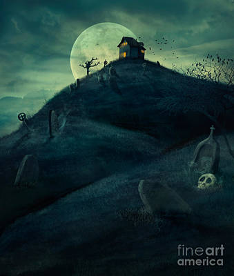 Graveyard Digital Art - Halloween Graveyard by Mythja  Photography